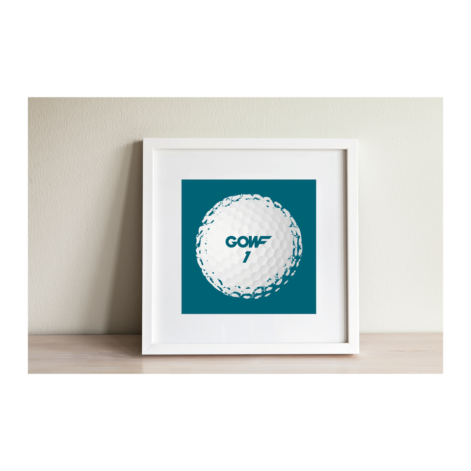 Golf ball, green, print, framed