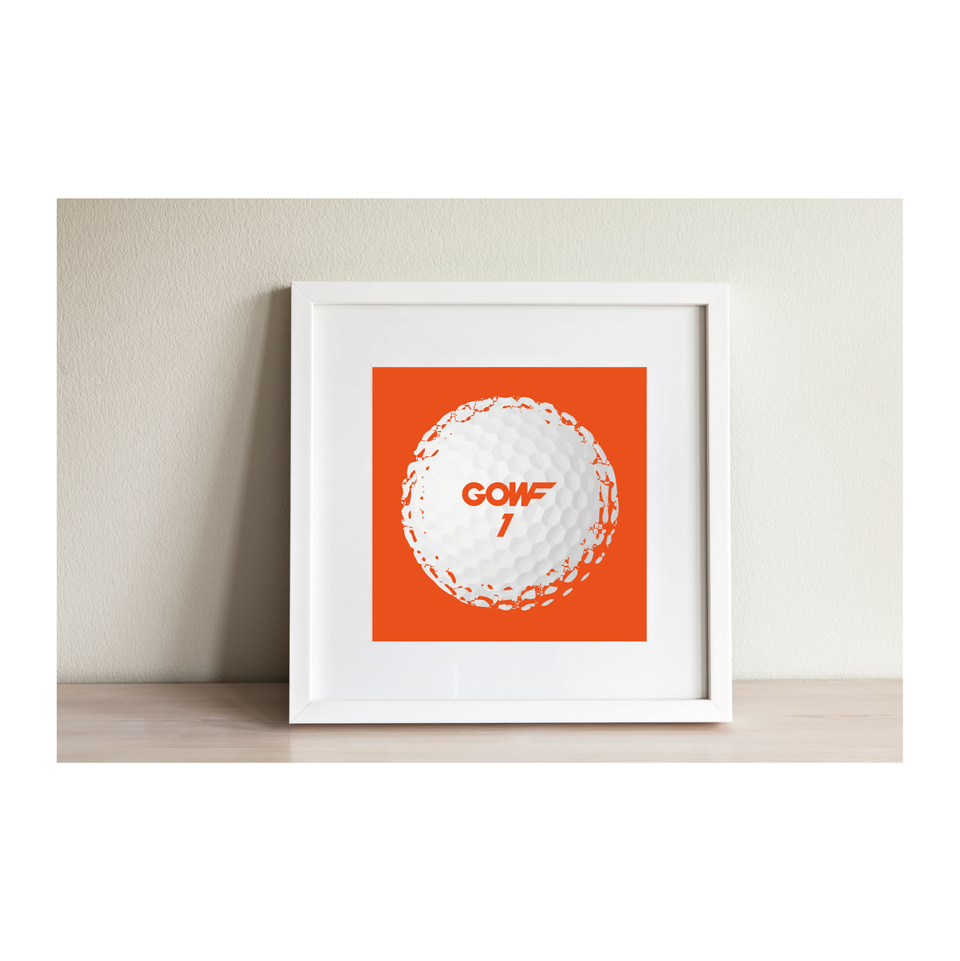 Golf ball, orange, print, framed picture