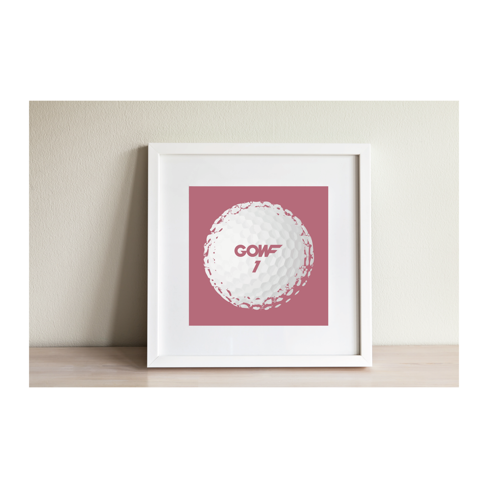 Golf ball, pink, print, framed picture