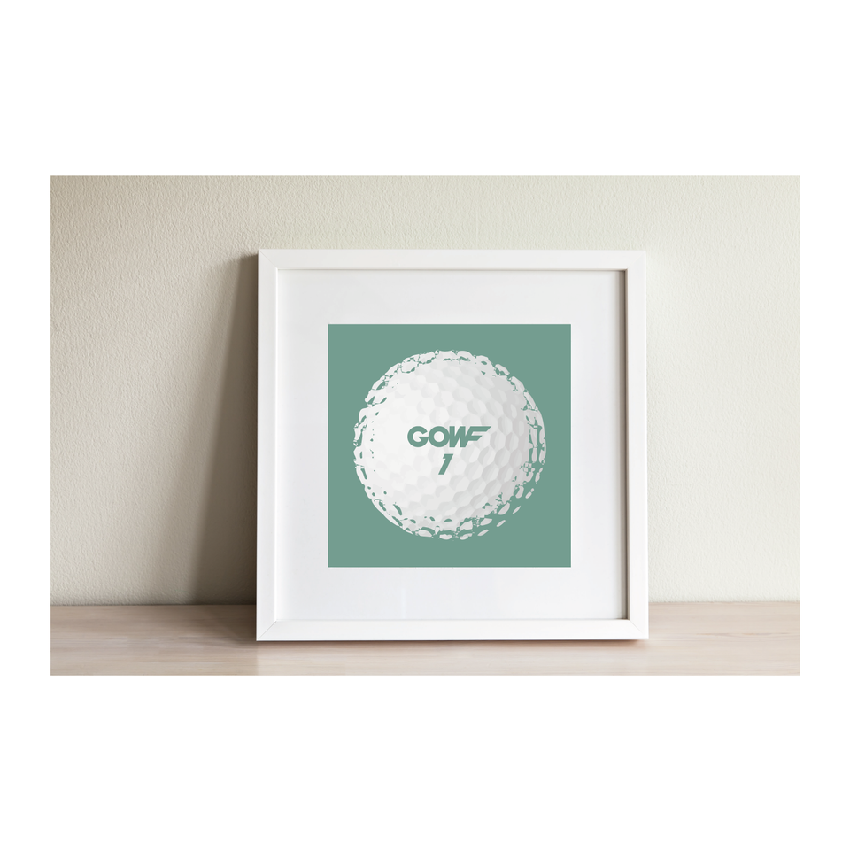 Golf ball, mint green, print, framed picture