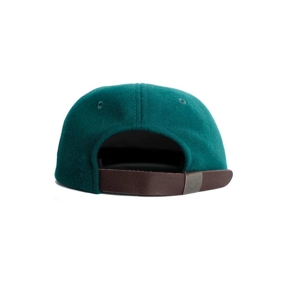 Headwear, cap, melton wool, green, gowf branding, rear view