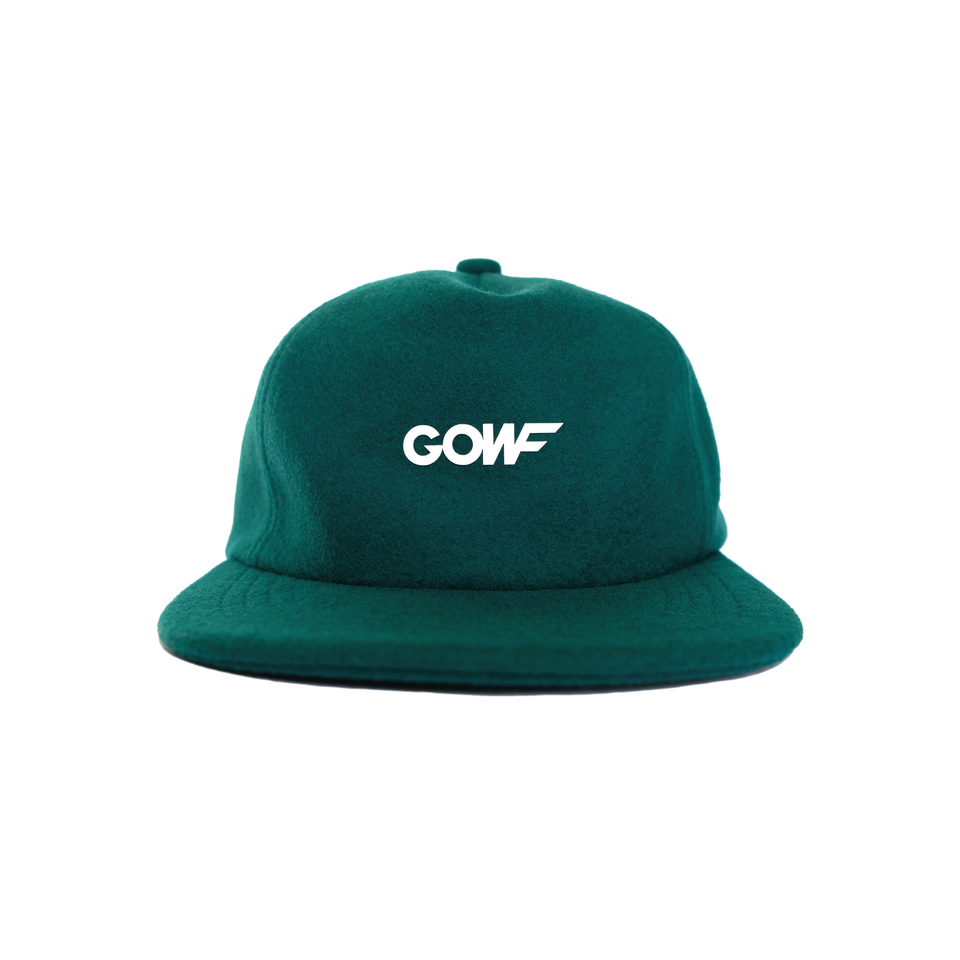 Headwear, cap, melton wool, green, gowf branding