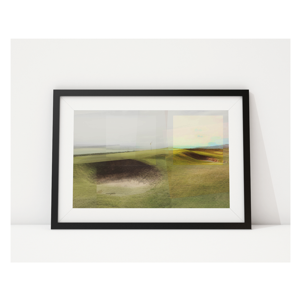 Photo, print, golf hole, multiple contrast colours, framed picture
