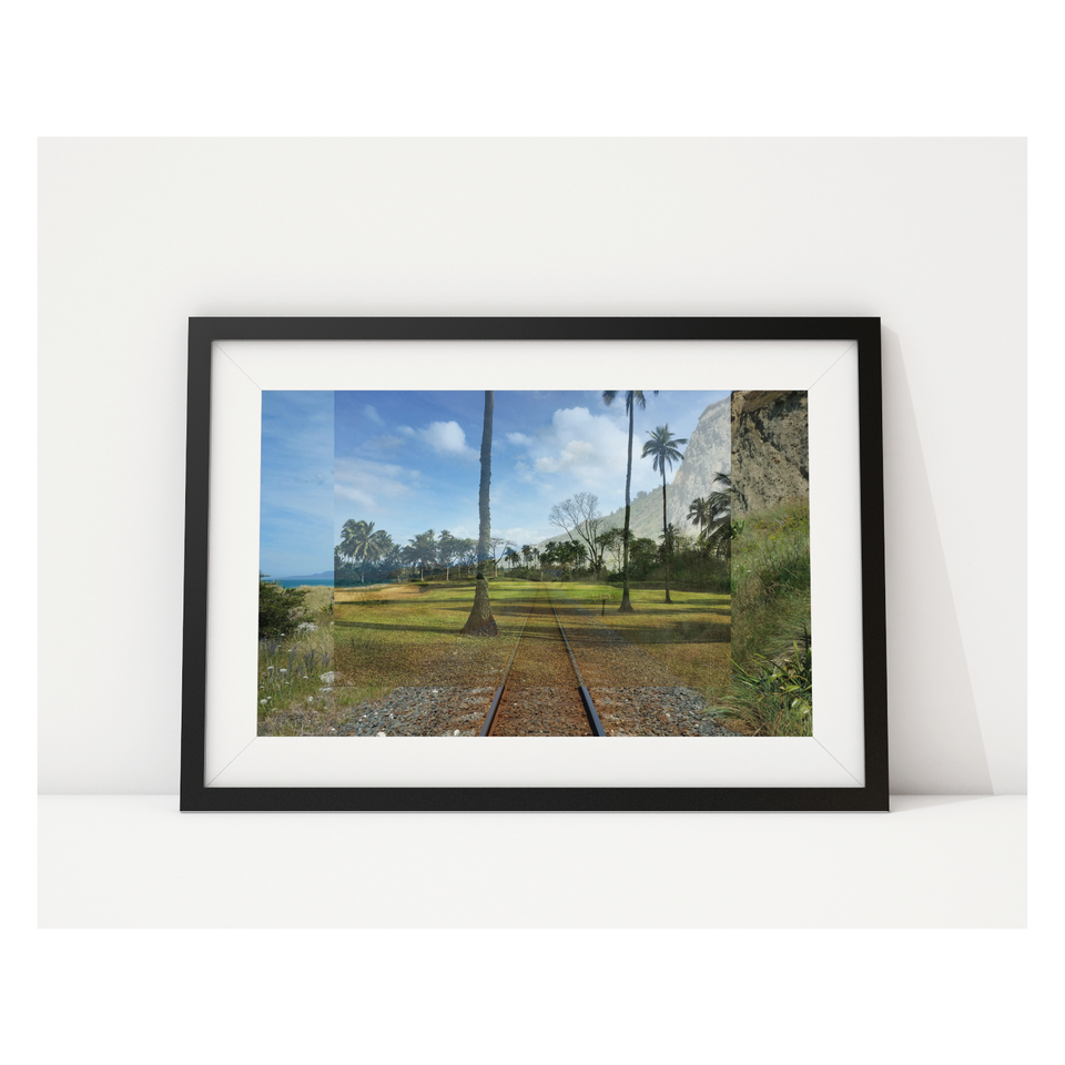 Photo, print, golf hole, multiple exposure, railway line, framed picture