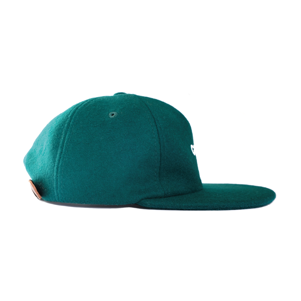 Headwear, cap, melton wool, green, gowf branding, side view