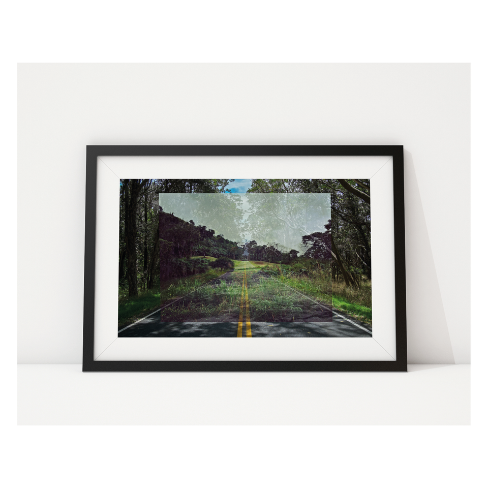 Photo, print, golf hole, double exposure, highway road, framed picture