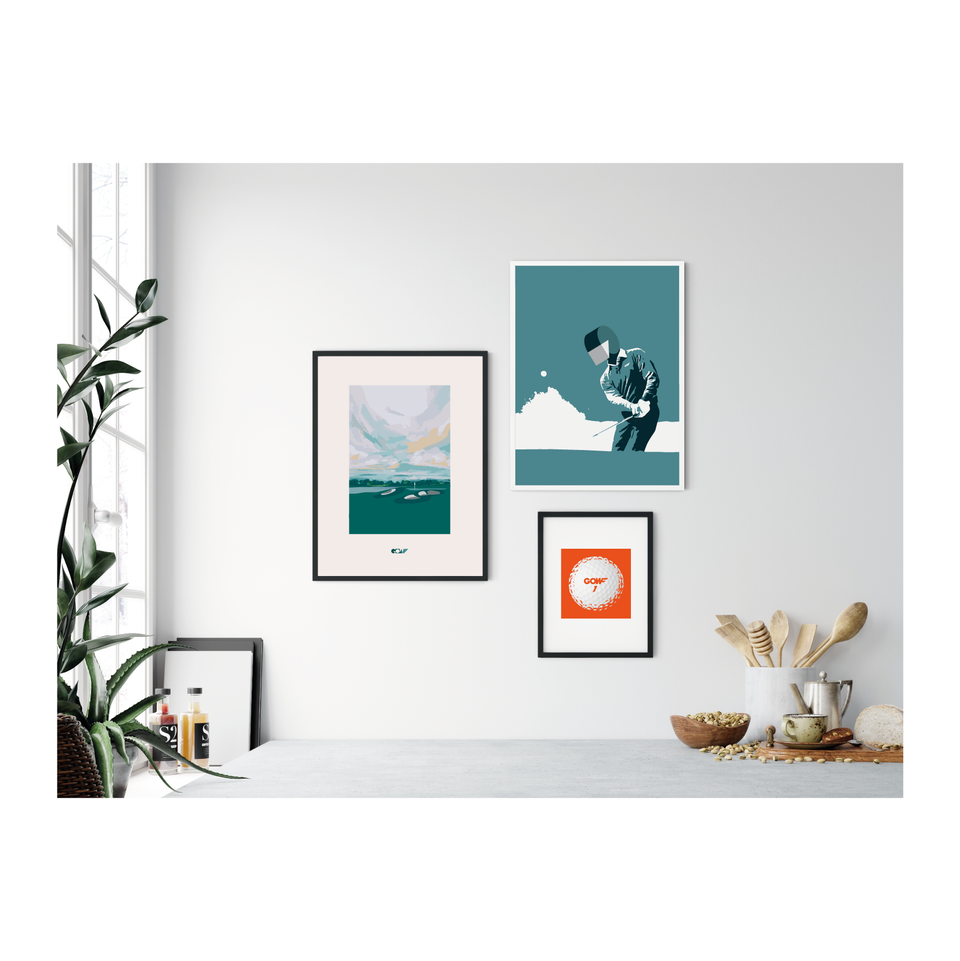 Home wall, art prints, three framed pictures, orange, green, white grey