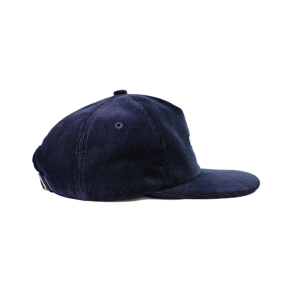 Headwear, cap, corduroy, navy, gowf branding, side view