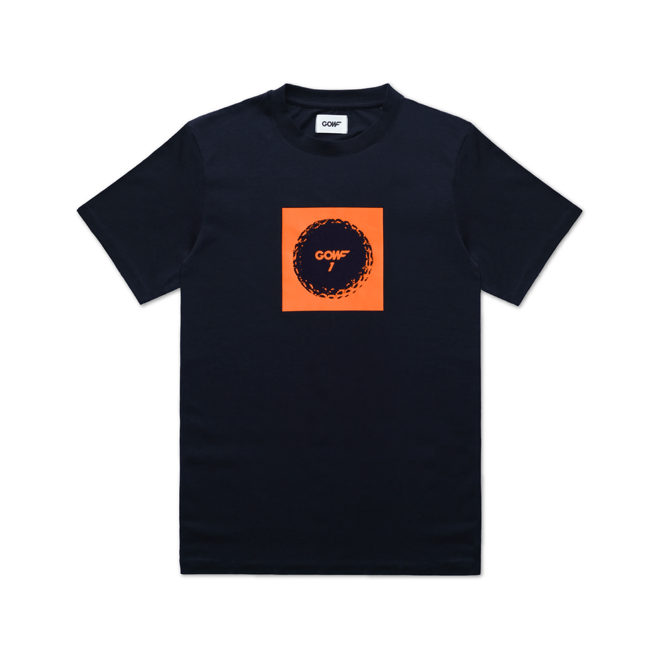 Organic cotton, T-shirt, Navy, golf ball, print, orange