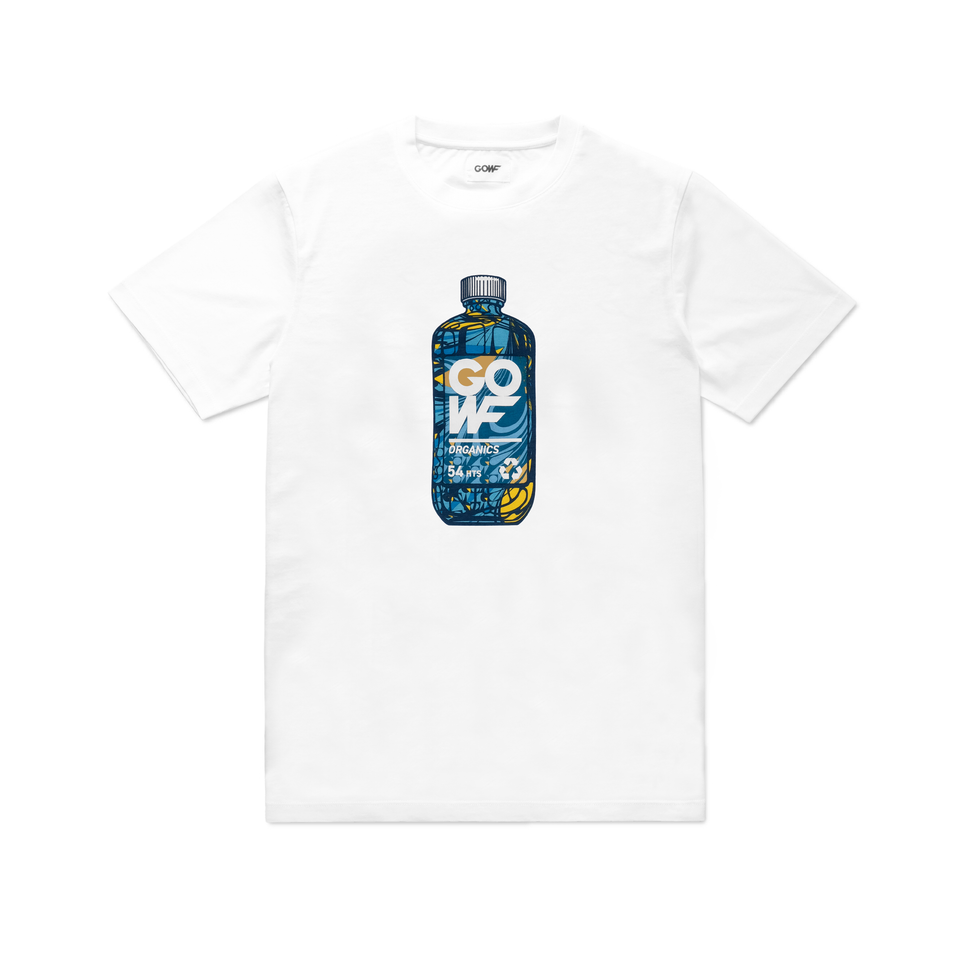 Organic cotton, T-shirt, white, vitamin bottle, screen print, green, yellow, blue