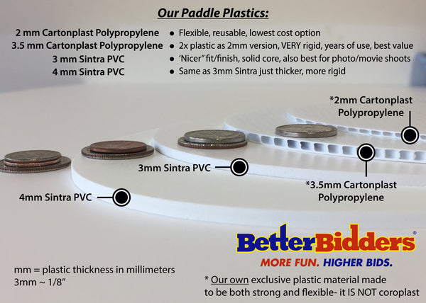 Auction Paddle Plastic Options - Better Bidders