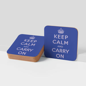 COASTER (Pack of 10): Keep Calm And Carry On - Blue
