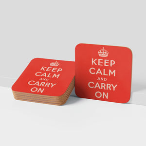 COASTER (Pack of 10): Keep Calm And Carry On - Red