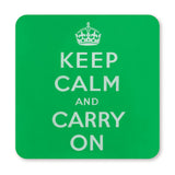 COASTER (Pack of 10): Keep Calm And Carry On - Green