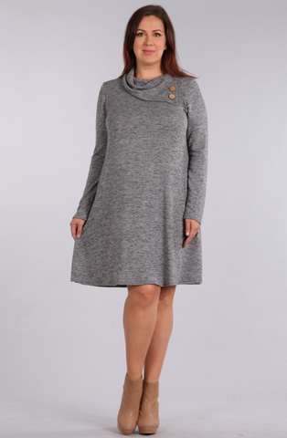Casual Curvy Button Dress