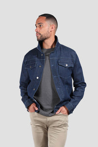 The Asher Stretch Trucker Jacket - Indigo