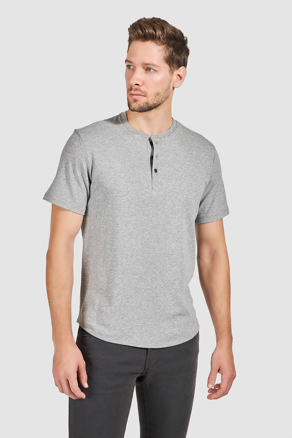 Load image into Gallery viewer, Monti Short Sleeve Henley - Grey