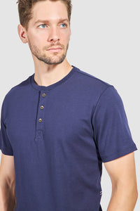 Monti Short Sleeve Henley - Navy