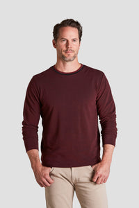 Crain Oxford Crew Long Sleeve Tee - Burgundy