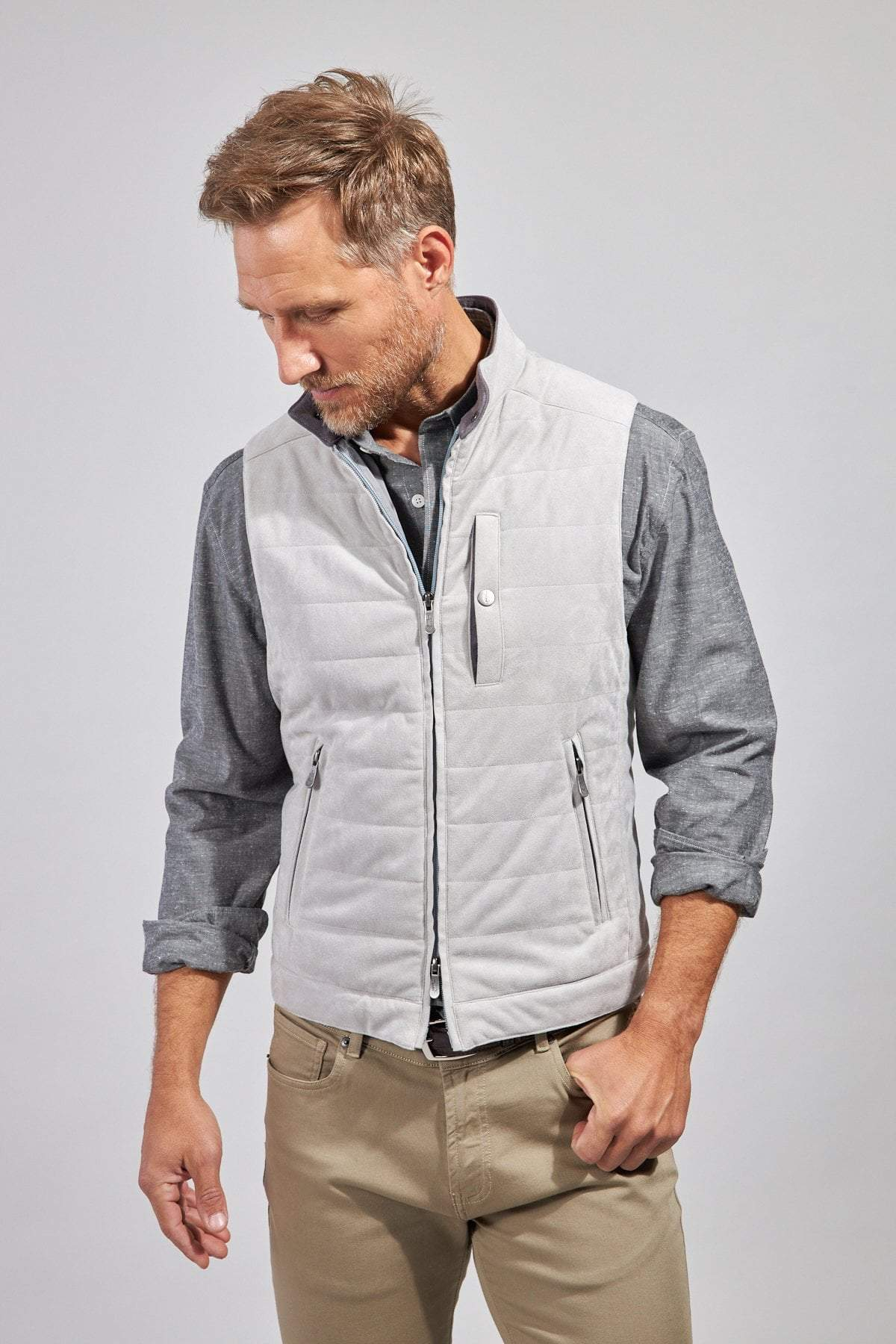 Load image into Gallery viewer, The Colton Micro Suede Vest - Light Grey