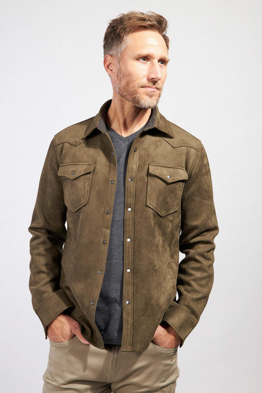 The Wyatt Micro Suede Shirt Jacket - Olive