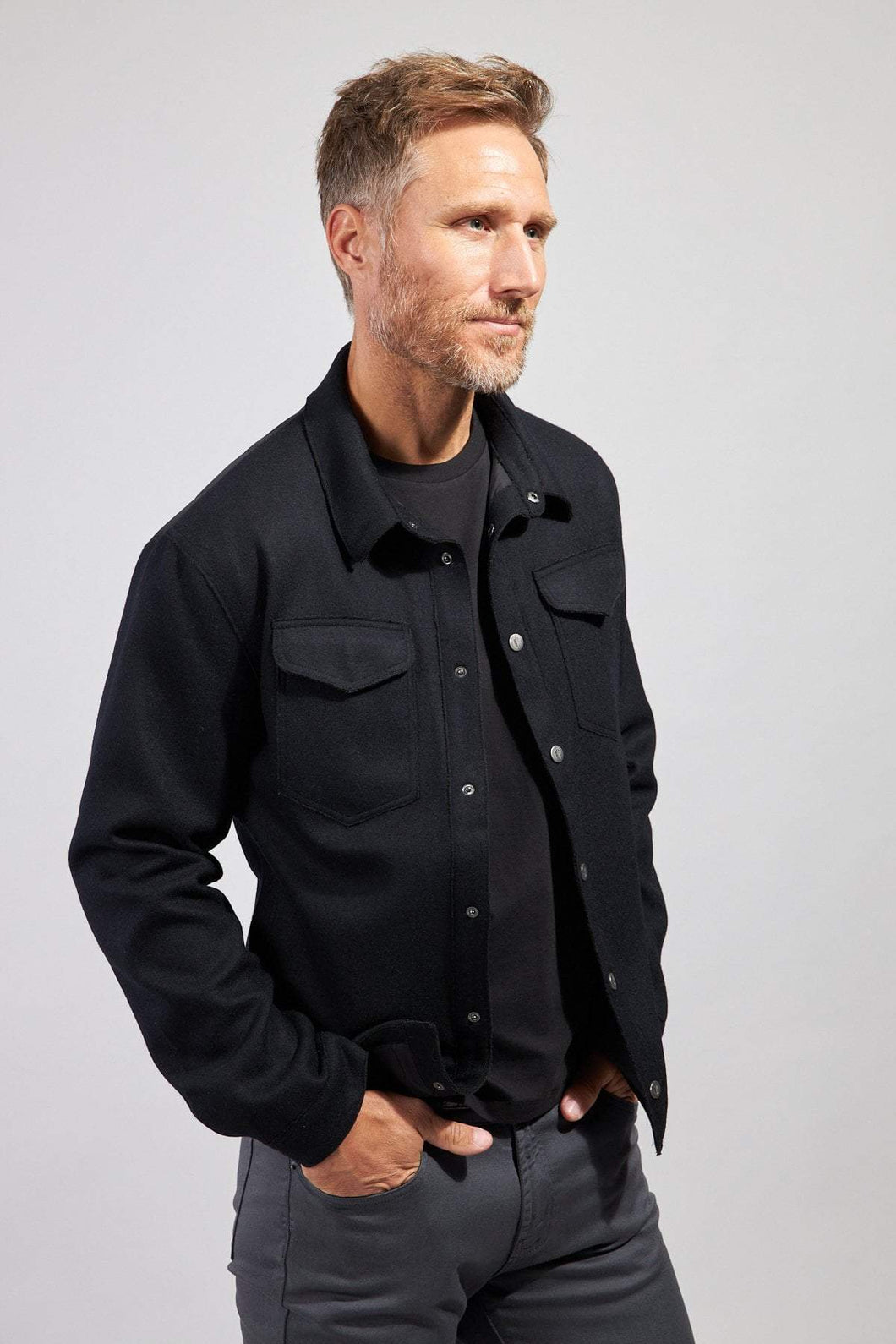 The Greyson Wool/Nylon Shirt Jacket - Black