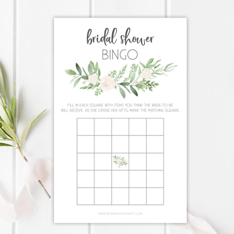 Eucalyptus Bridal Shower Bingo