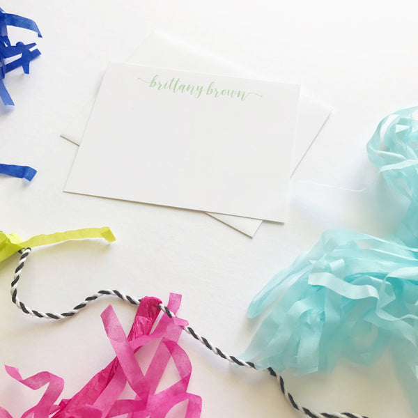 Swirly Name Notecards