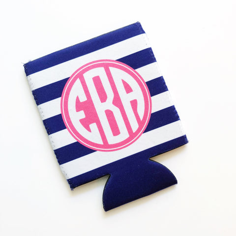 Navy Monogram Can Cooler