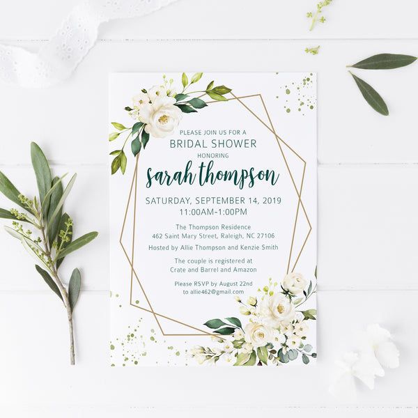 Floral & Gold Bridal Shower Invitation
