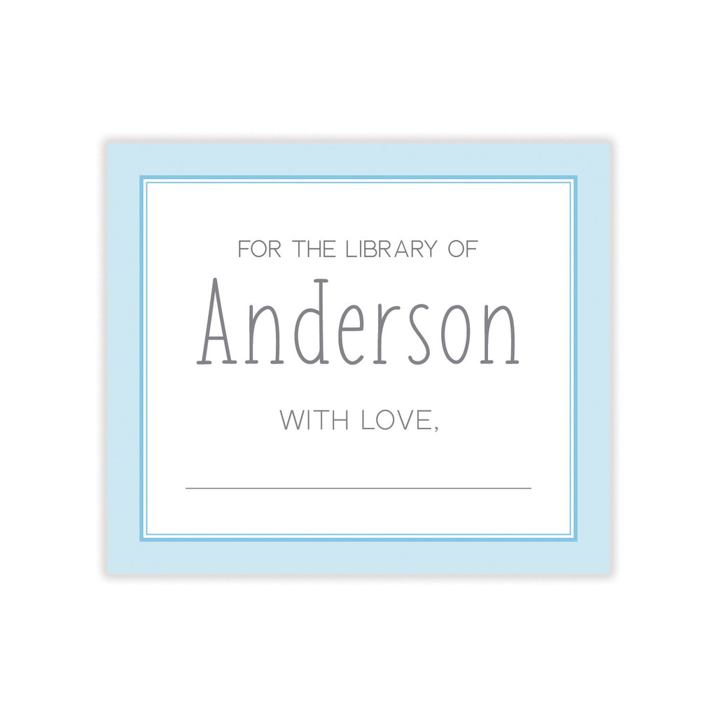 Baby Blue Bookplate Sticker