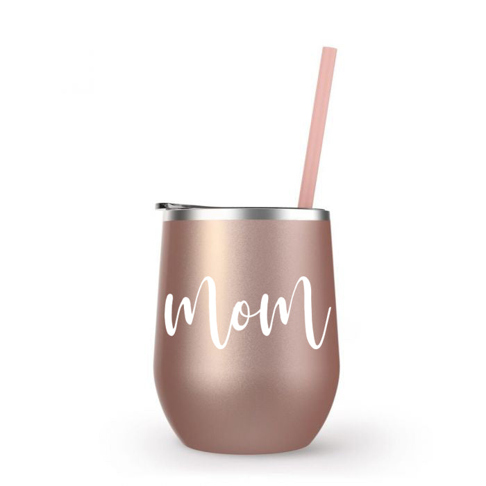 Mom Wine Tumbler in Rose Gold