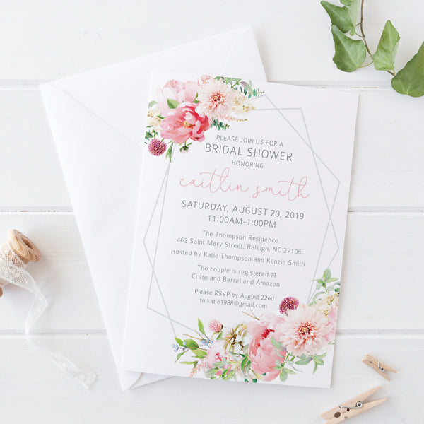 Floral & Stripe Bridal Shower Invitation