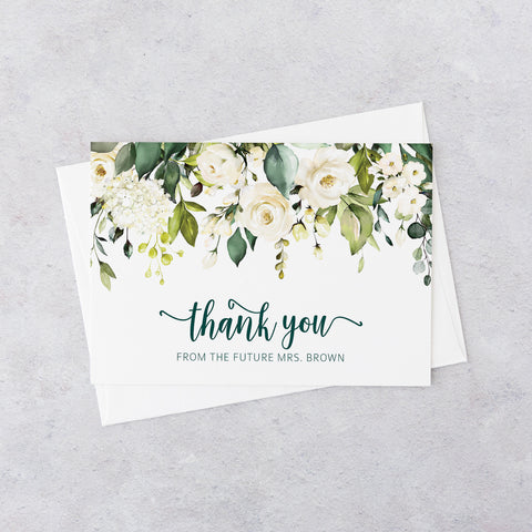 Floral Gold Thank You Cards