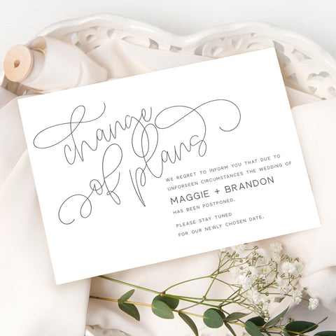 Calligraphy Change of Plans Card
