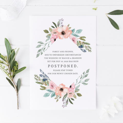 Floral Postponement Card