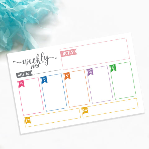 Weekly Organization Notepad