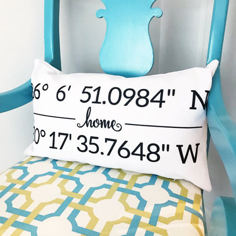 Map Coordinates Pillow