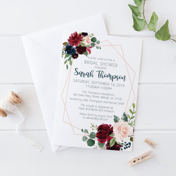 Winter Floral Bridal Shower Invitation