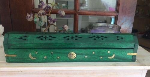 Green Celestial Inlaid Incense Box Burner - Soul Sparks