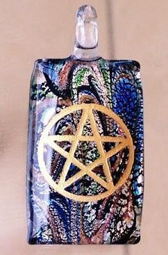 Pentagram Engraved Glass Pendants - Soul Sparks