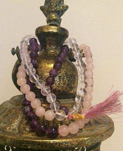 Rose Quartz, Amethsyt and Crystal Quartz Jap Mala - Soul Sparks
