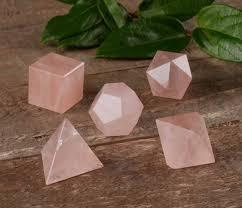 Rose Quartz Sacred Geometry Set with wooden box - Soul Sparks