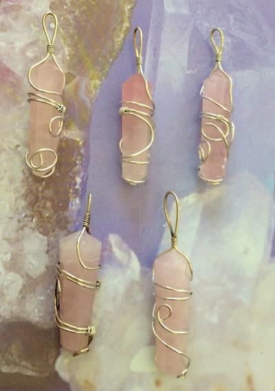 Rose Quartz Wire Wrap Pendant - Soul Sparks