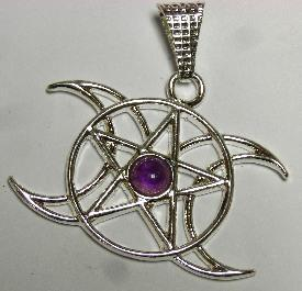 Triple Moon Pentacle with Amethyst - Soul Sparks