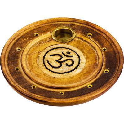 Wooden Round OM Incense Stick & Cone Burner - Soul Sparks