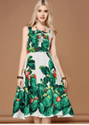 Sleeveless Crystal Beading Green plant Cactus Printed Casual Dress