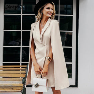 Simplee Vintage cloak blazer women dress Office ladies v neck shawl sleeveless dress female Solid celebrity party dress vestidos