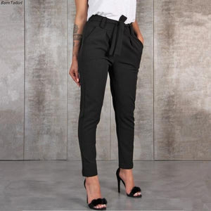 """Trendy Solid Color High Waisted Pants with Belt  """