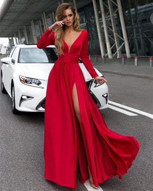 long sleeve maxi dress with front split